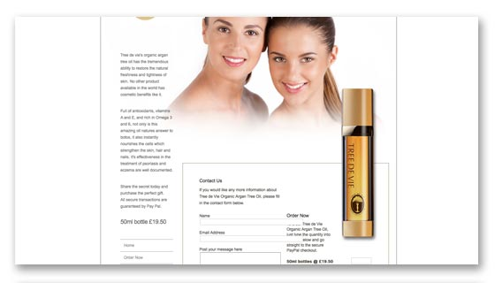 beauty and skincare products website design