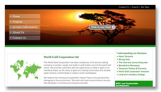 Gold mining and exploration company website design